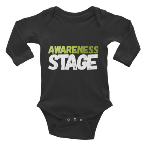 Awareness Stage Long Sleeve Baby Onesie – Dark