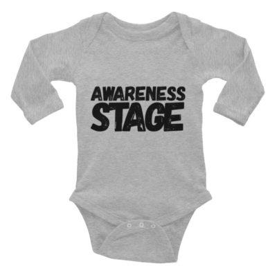 Awareness Stage Long Sleeve Baby Onesie – Light